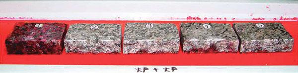 石材を切断し断面を確認